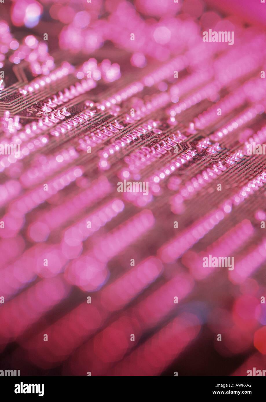 Circuit board, blurred, close-up Stock Photo