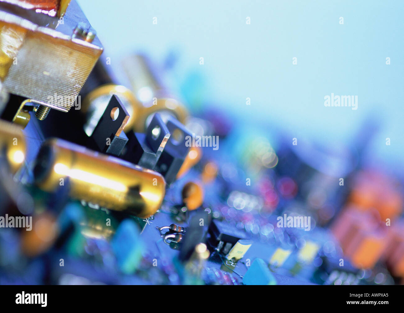 Circuits and transformers, close-up Stock Photo