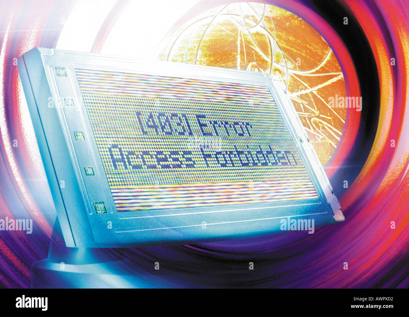 Computer monitor floating in cyberspace, 'Error' message on screen, digital composite. - Stock Image