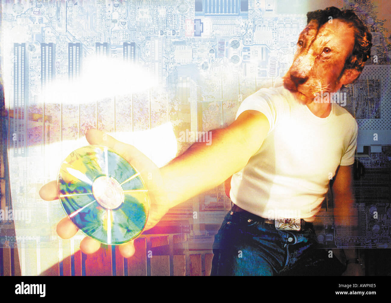Man with animal head holding CD, digital composite. Stock Photo