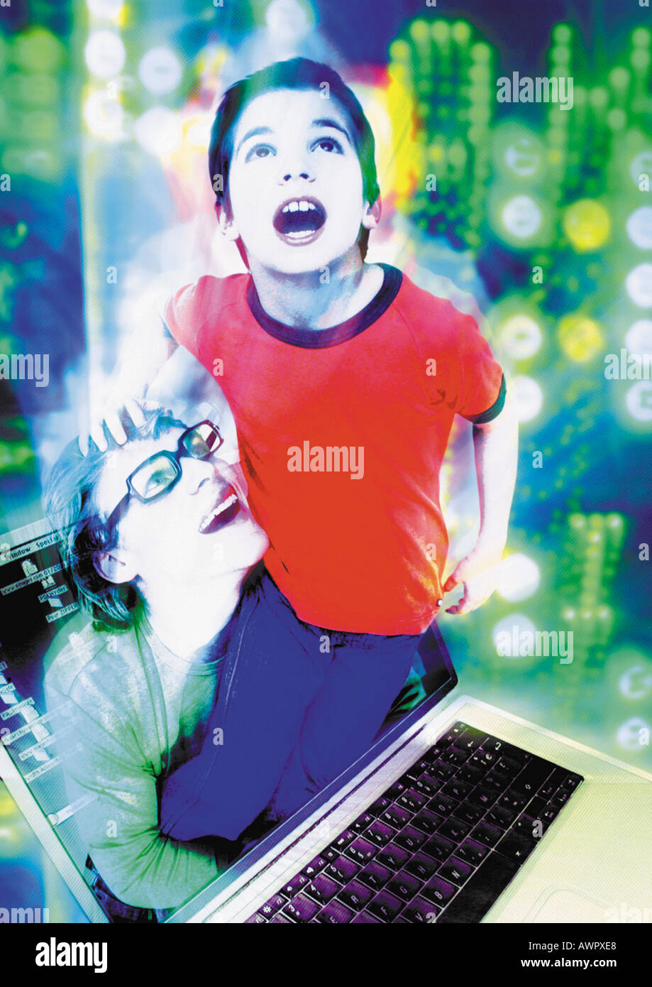 Child emerging from laptop entering into cyberspace, man lifting child, digital composite. - Stock Image
