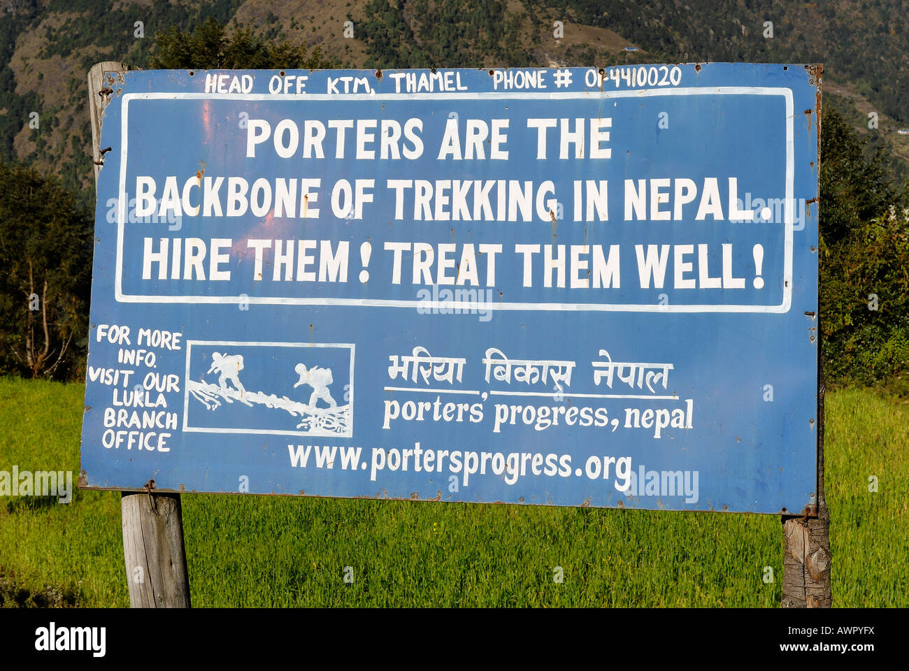Help project for Sherpa porters, Khumbu Himal, Nepal - Stock Image