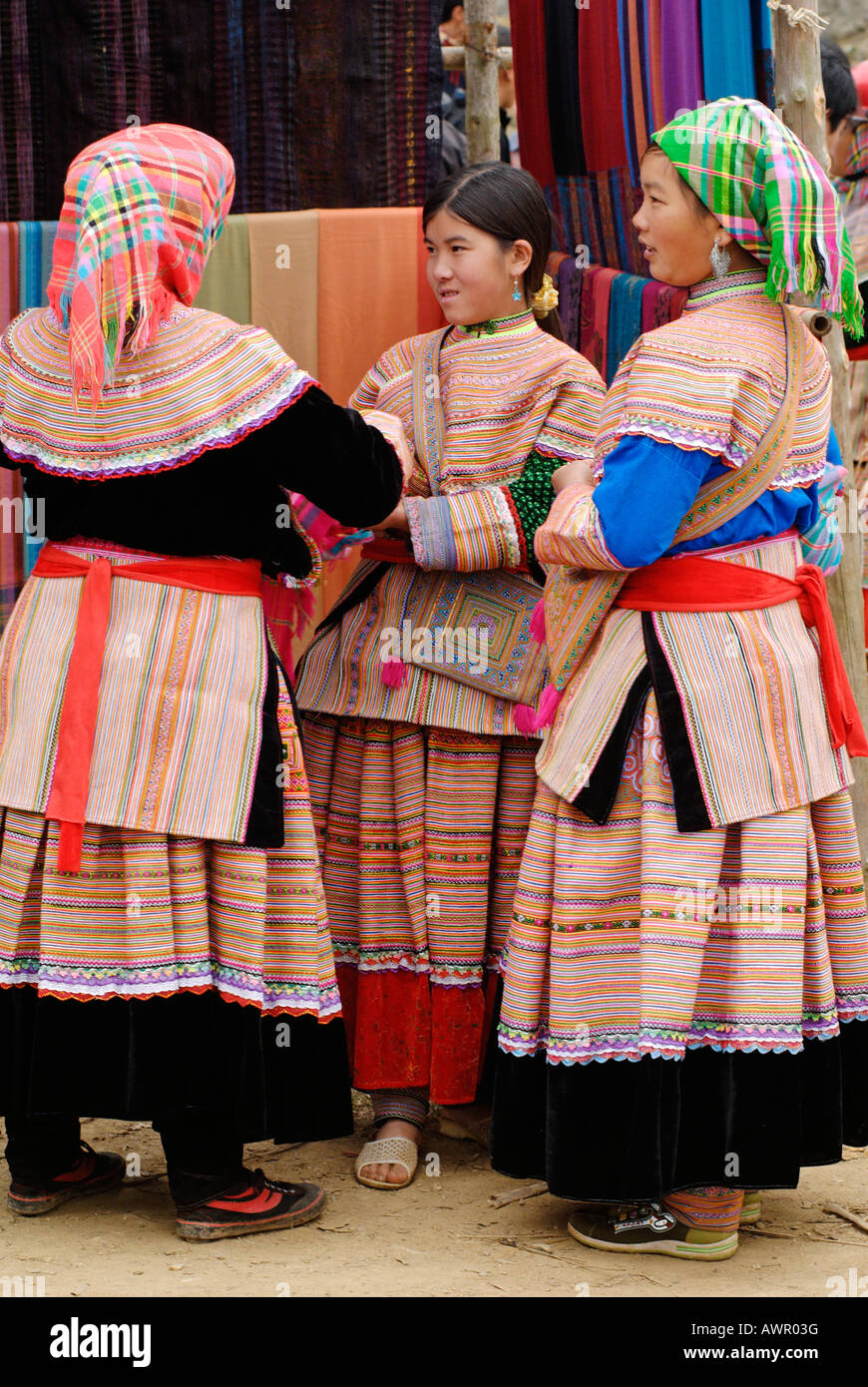 Woman of the Flower Hmong at Bac Ha market, Ha Giang Province, northern Vietnam - Stock Image