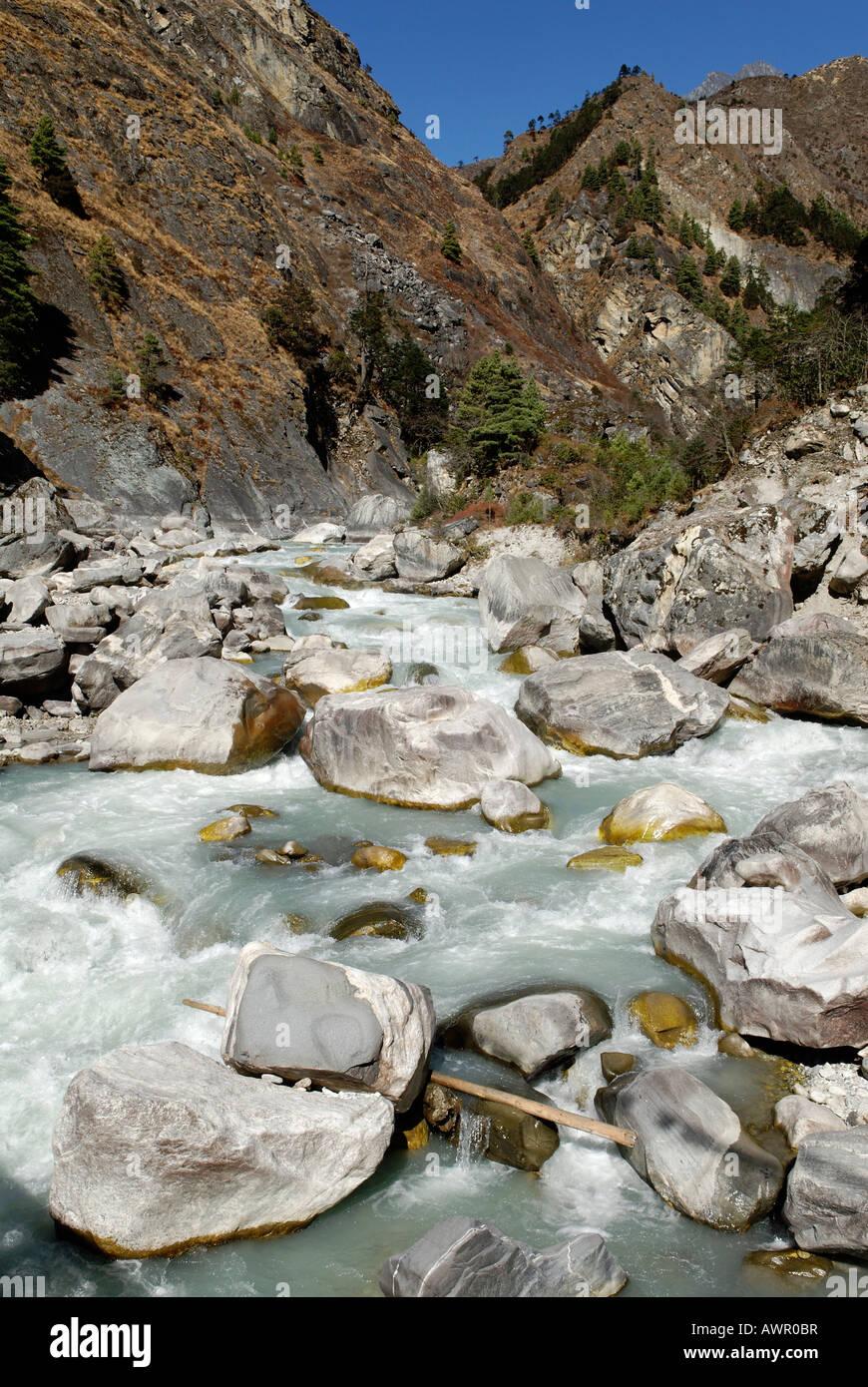 Dudh Koshi river, Sagarmatha National Park, Khumbu, Nepal - Stock Image