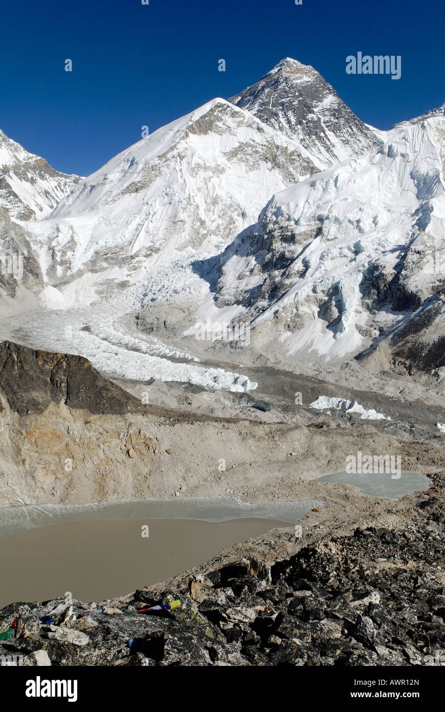 Famous view from Kala Patthar, Patar (5545) towards Mount Everest (8850), Nuptse (7861) and Khumbu Glacier, Sagarmatha - Stock Image