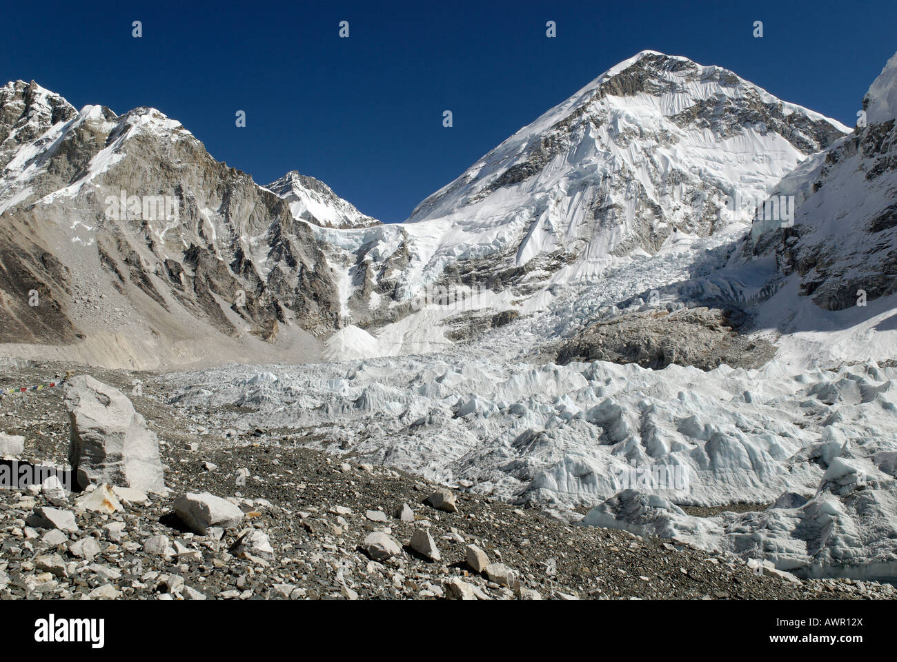 View from Everest Base Camp over Khumbu glacier towards Khumbu Icefall, Khumbu Himal, Sagarmatha National Park, - Stock Image