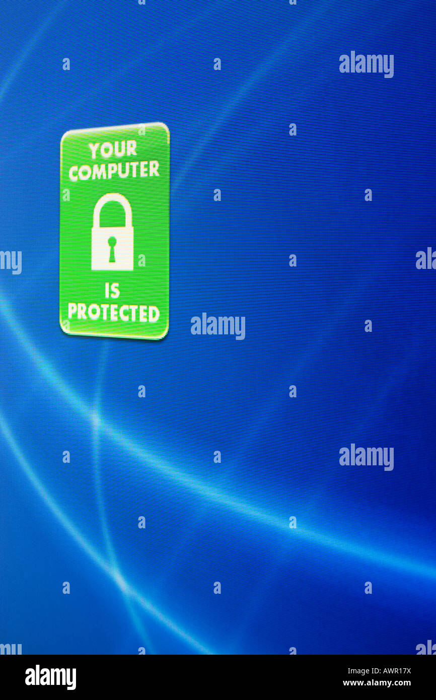 Screenshot, Computer Warning, Your Computer is protected - Stock Image