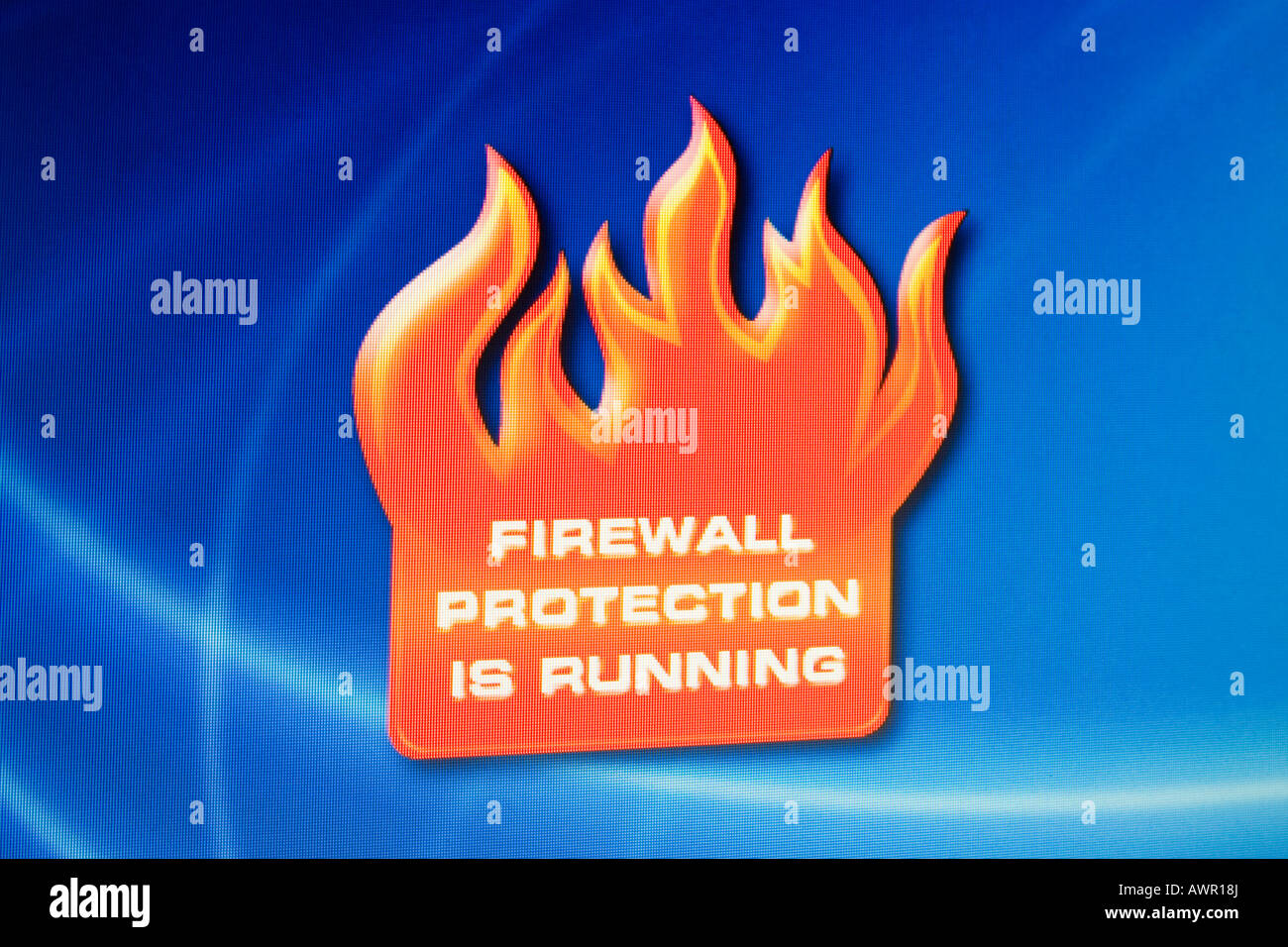 Screenshot, Computer Warning, Firewall protection is running - Stock Image