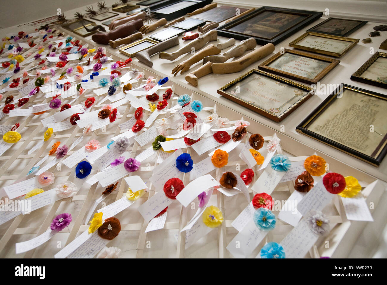 Intercessions, devotional objects left by pilgrims at the Convent of Saint John (St. Johann), Benedictine monastery - Stock Image