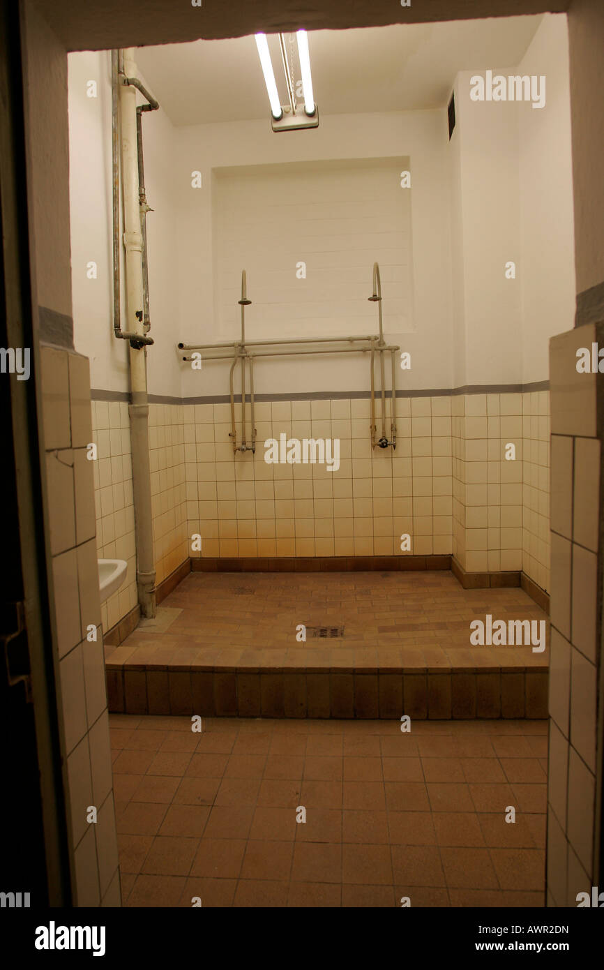 Washroom in a prison building of the Ministry for public security (MfS, state security service) Dresden, Saxonia, - Stock Image