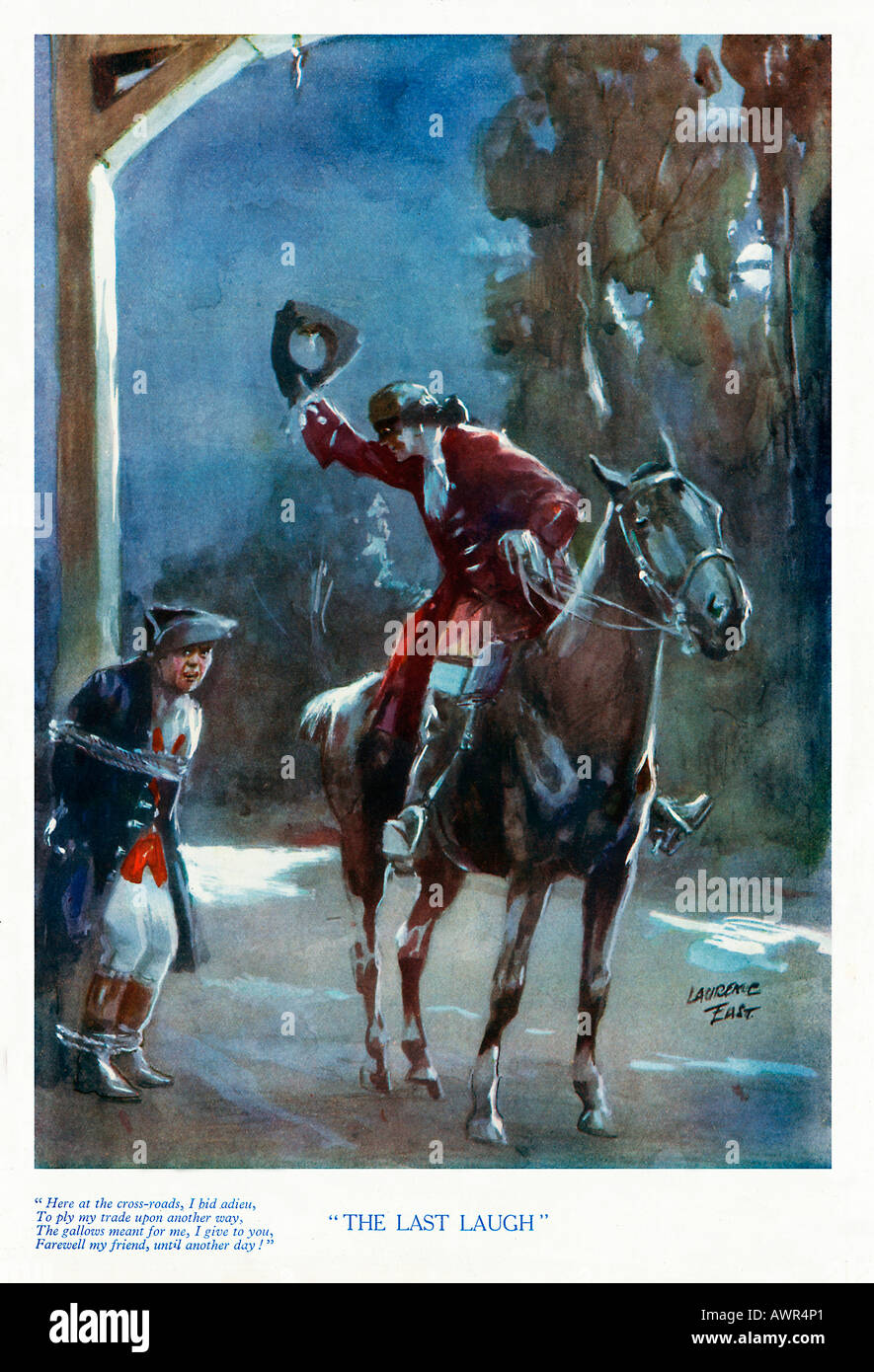 The Last Laugh 1920s boys magazine illustration of the highwayman mocking the gallows and its keeper - Stock Image