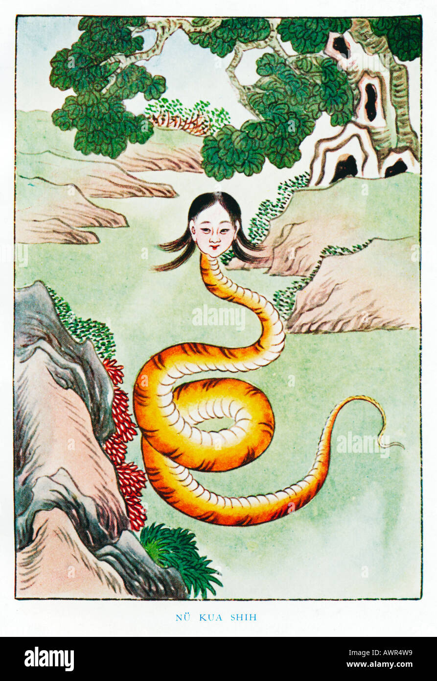 Nu Kua Shih 1920s illustration by a Chinese artist from a book on Myths and Legends of China - Stock Image