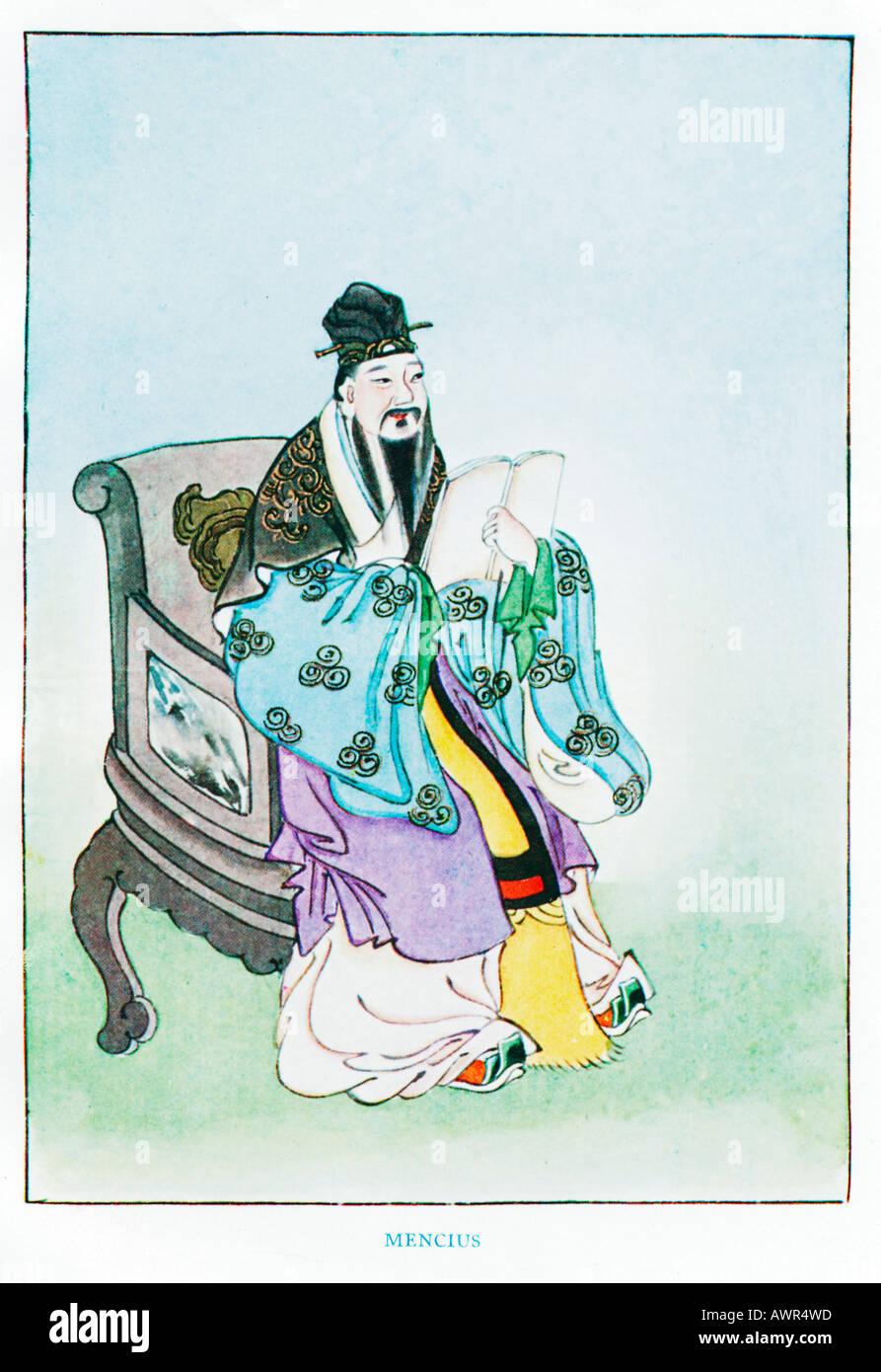 Mencius 1920s illustration by a Chinese artist from a book on Myths and Legends of China - Stock Image