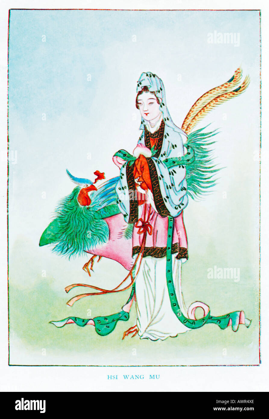 Hsi Wang Mu The Golden Mother Of The Tortoise 1920s illustration from a book on Myths and Legends of China - Stock Image