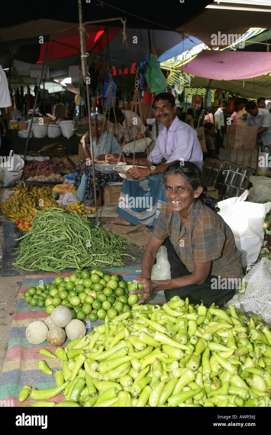 Woman selling fruits and vegetables at the market in Tangalle, Sri Lanka, Asia Stock Photo