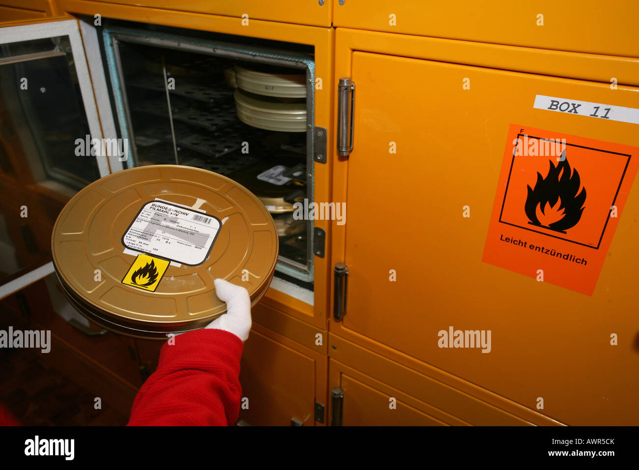 Easily inflammable film reel treasured in a safe at the Bundesarchiv Koblenz Rhineland-Palatinate Germany - Stock Image