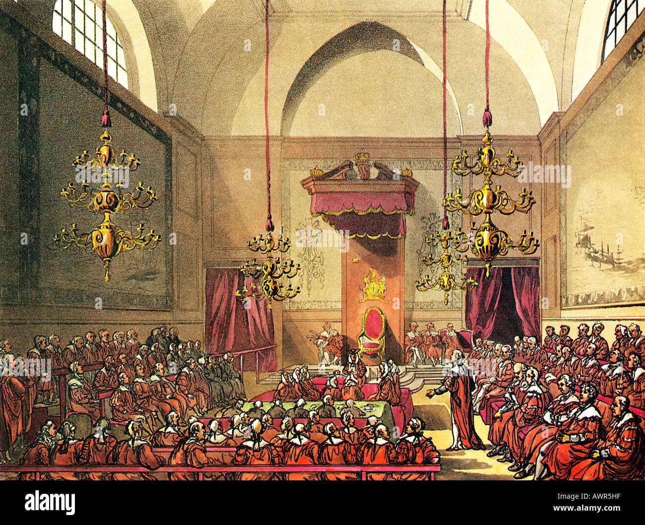 House of Lords 1805 from the Microcosm of London illustrated by Rowlandson and Pugin - Stock Image