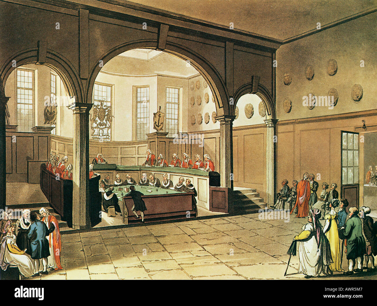Doctors Commons 1805 from the Microcosm of London illustrated by Rowlandson Pugin - Stock Image