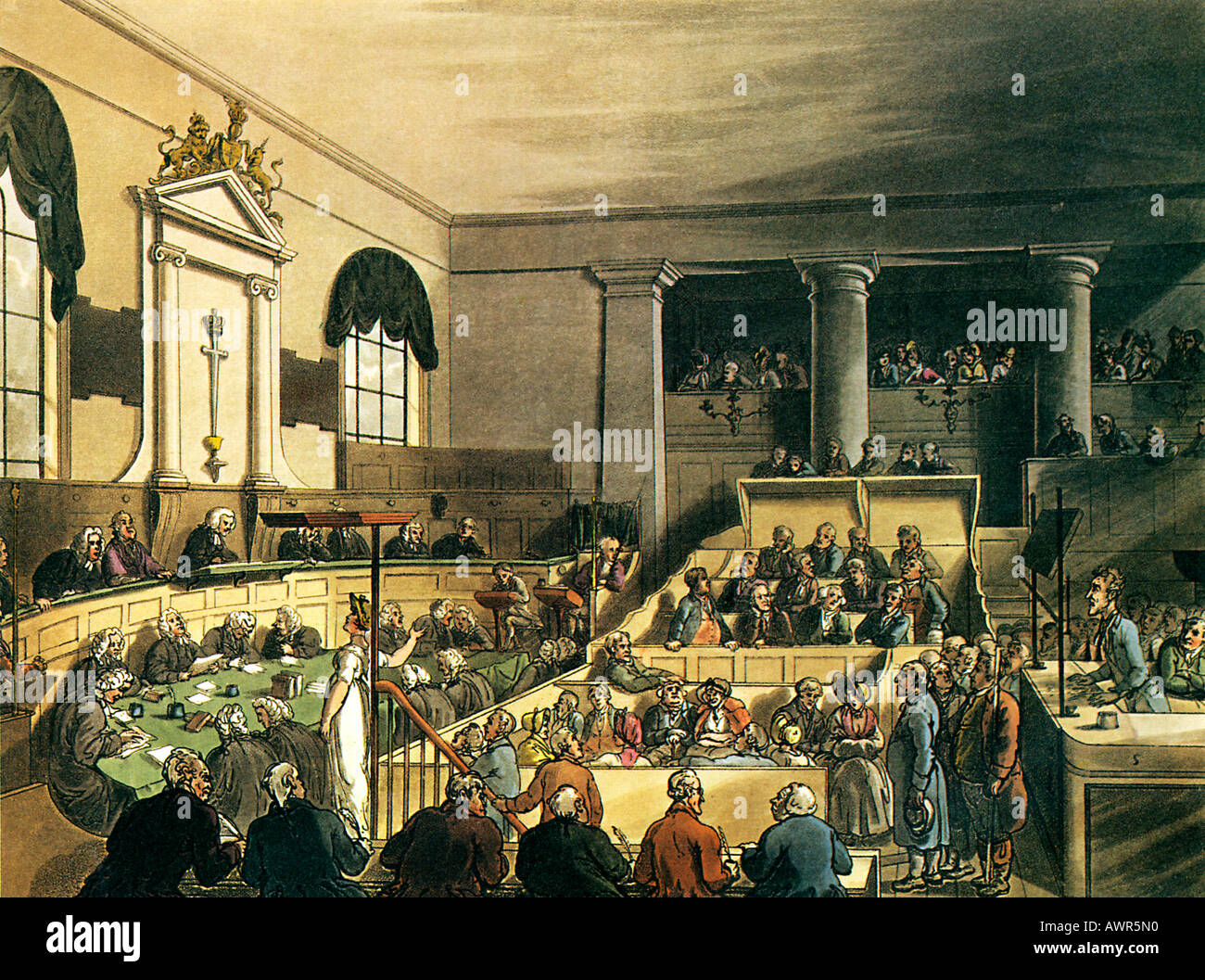 Old Bailey 1805 from the Microcosm of London illustrated by Rowlandson Pugin - Stock Image