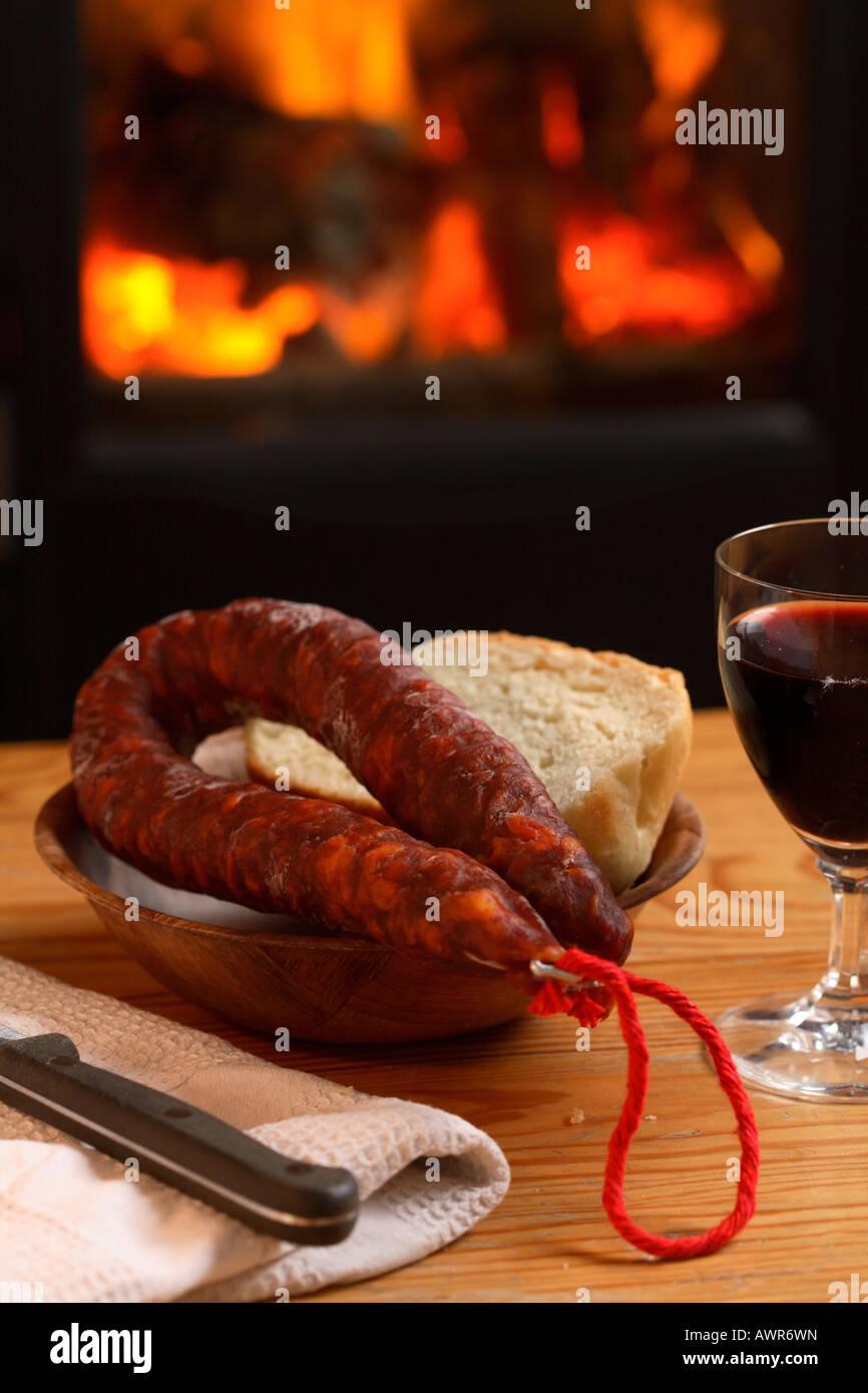 Spanish chorizo - Stock Image