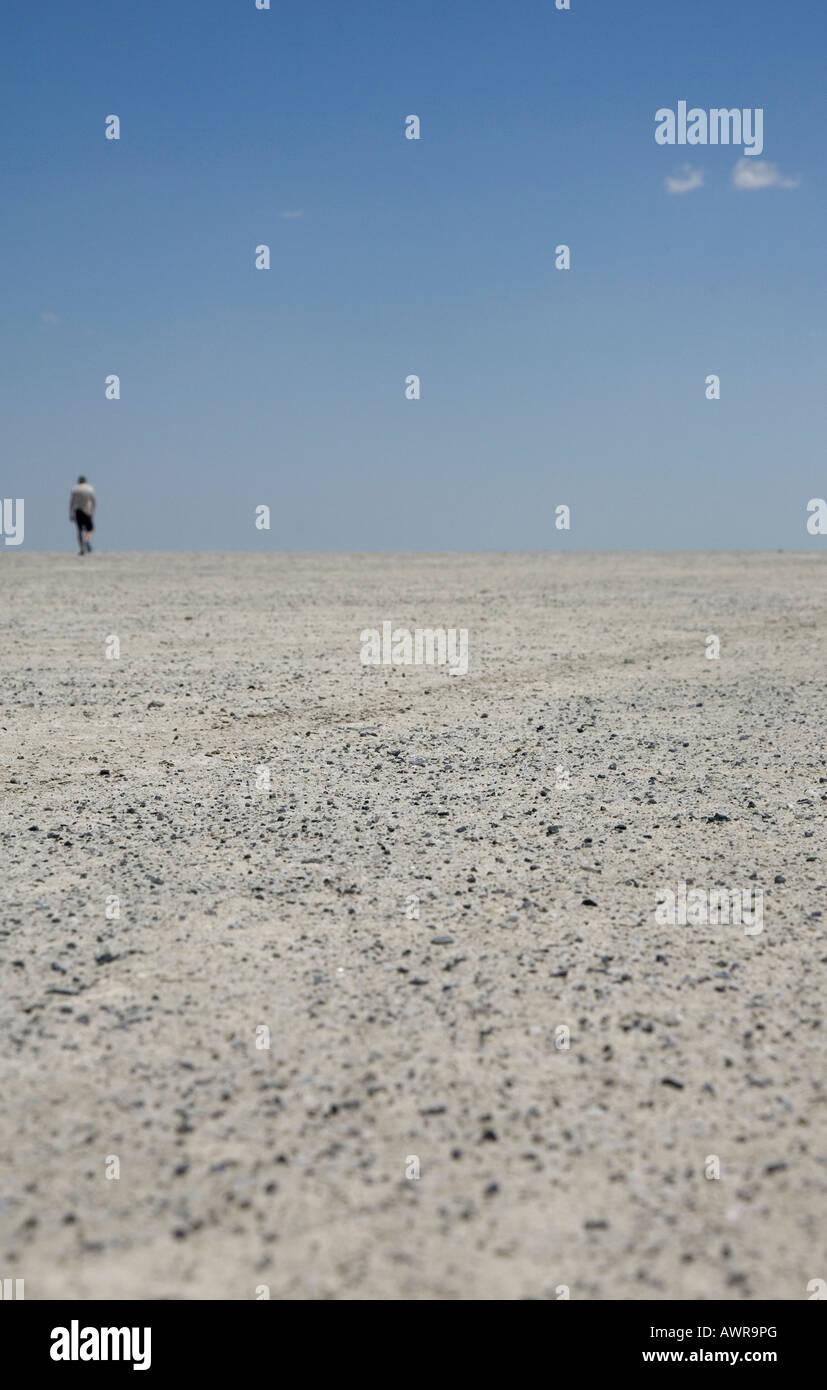 A man walks accross the baked mud of the ephemeral Sua Pan, a salt pan near Nata, in the Kalahari desert region - Stock Image