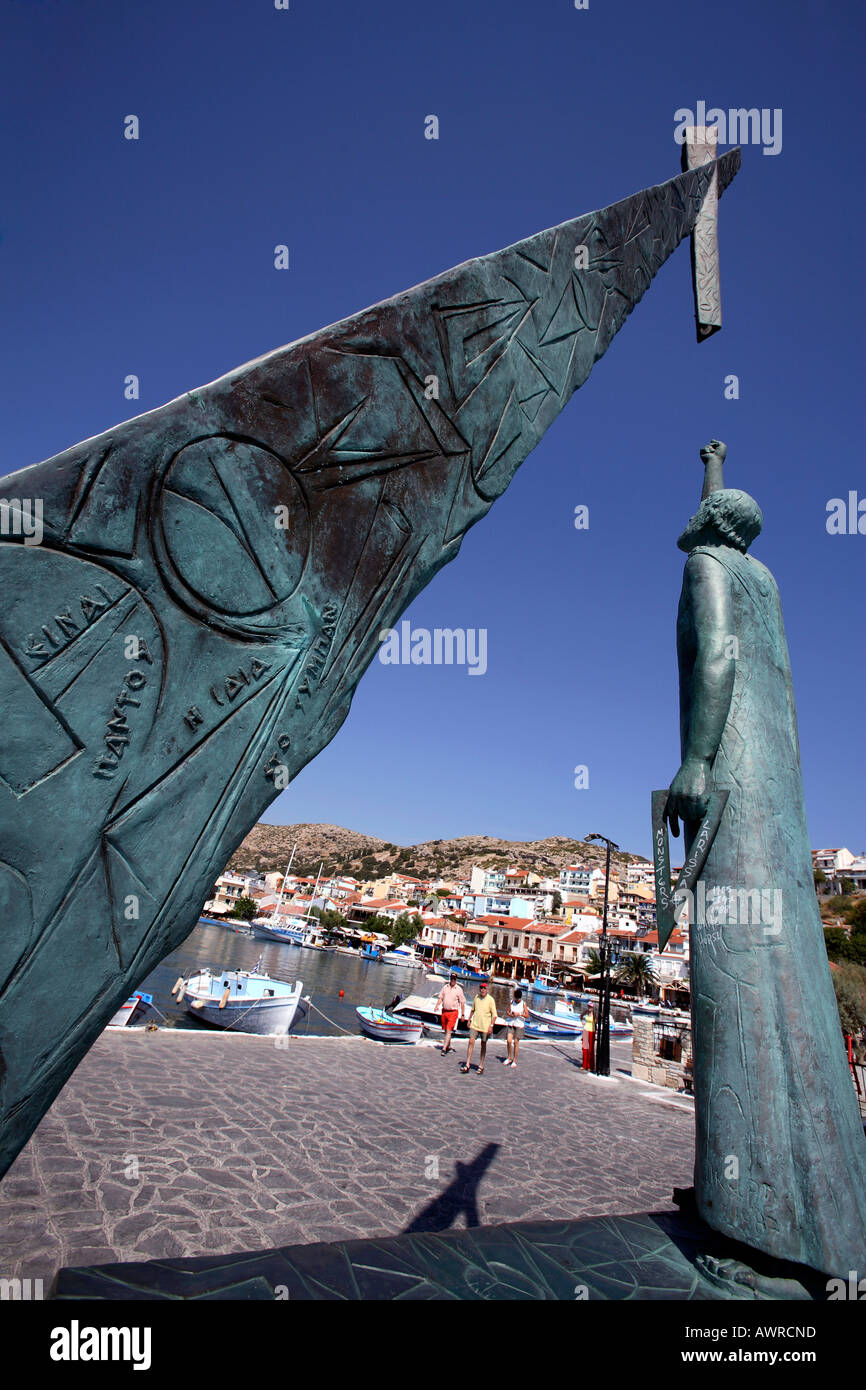 greece northern aegean islands samos the monument to pythagoras in pythagorion Stock Photo