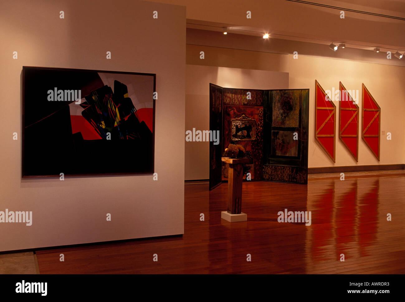 Paintings, exhibition hall, gallery, The Museum of Art of Puerto Rico, MAPR, Santurce, city of San Juan, Puerto Rico - Stock Image