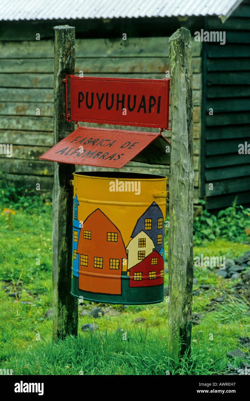 Rubbish Bin, Puyuhuapi, Patagonia, Chile - Stock Image