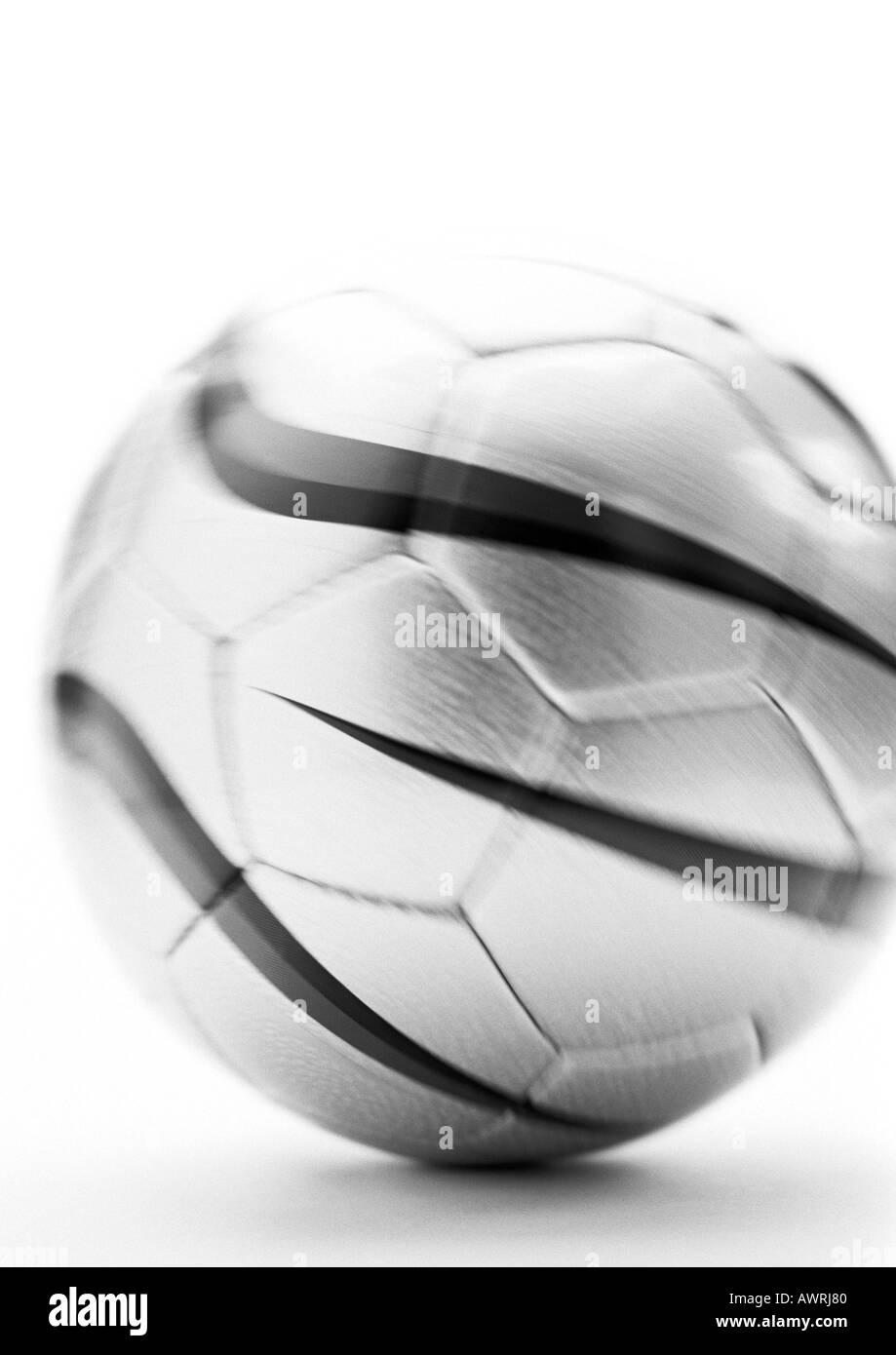 Soccer ball, close-up, b&w. - Stock Image