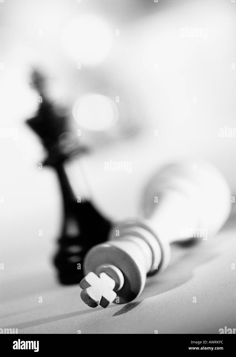 Pieces from chess set, b&w. - Stock Image