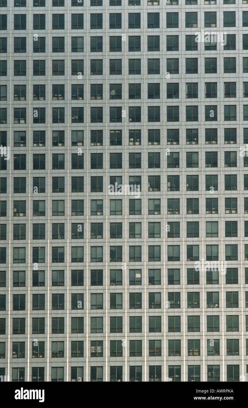 Detail of windows of Canary Wharf London England - Stock Image