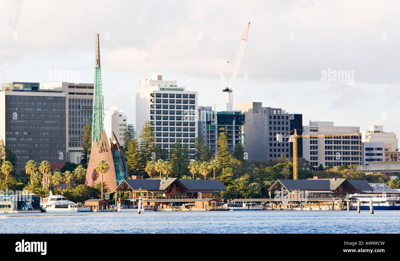 barrack street jetty and the swan bell tower stock photo. Black Bedroom Furniture Sets. Home Design Ideas