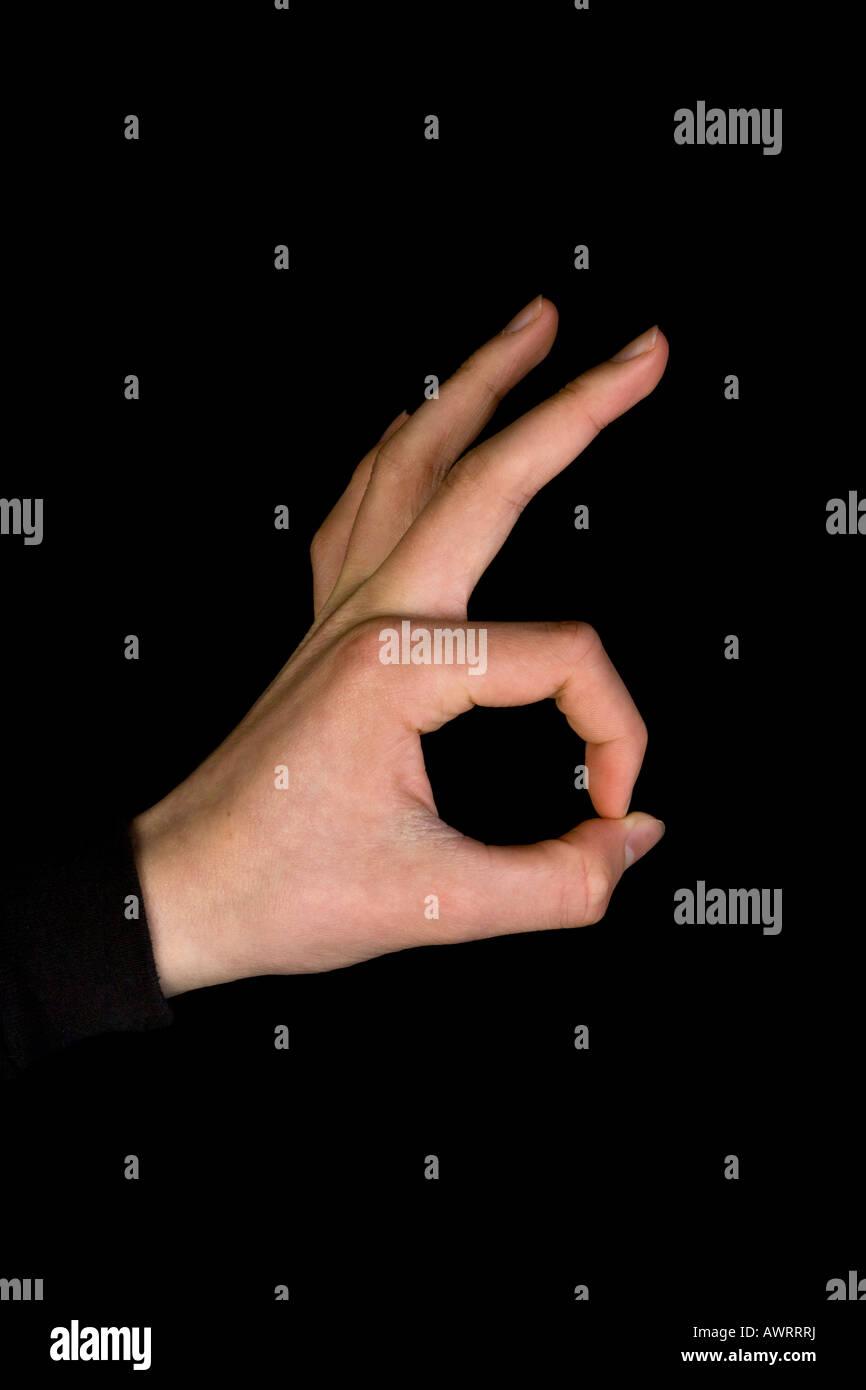 left hand ok sign - Stock Image