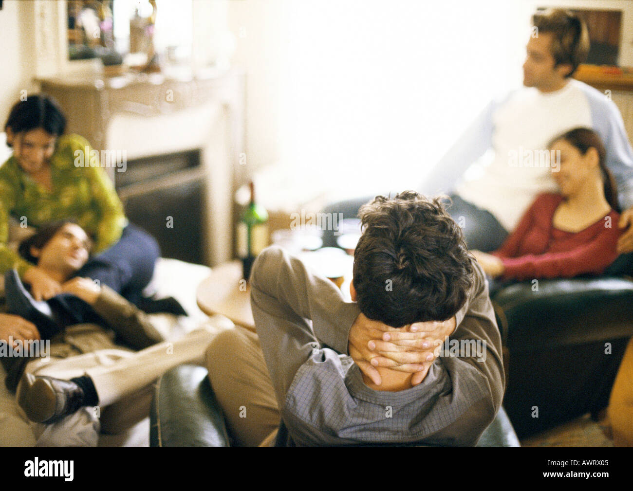 Five Young People Sitting In Living Room Stock Photo 5434884 Alamy