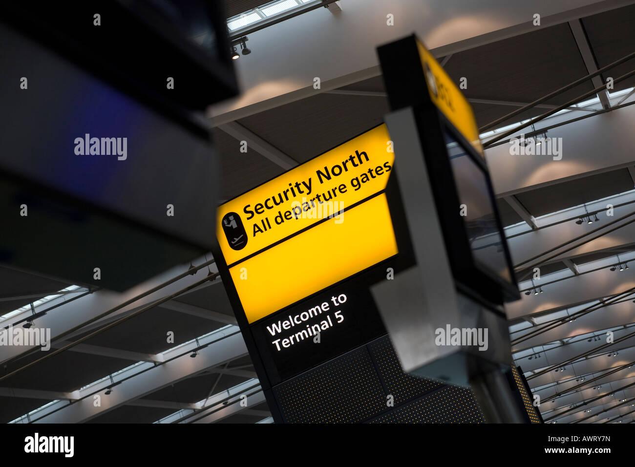 Security Notice display at London Heathrow Airport Terminal 5 Stock Photo