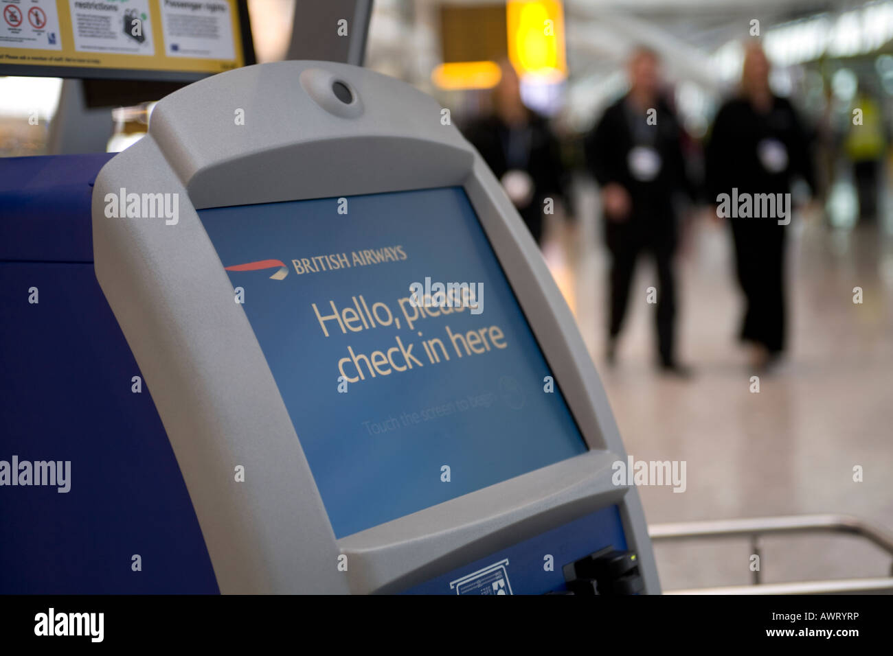 An automated British Airways Check in dest at London Heathrow Airport Terminal 5 - Stock Image