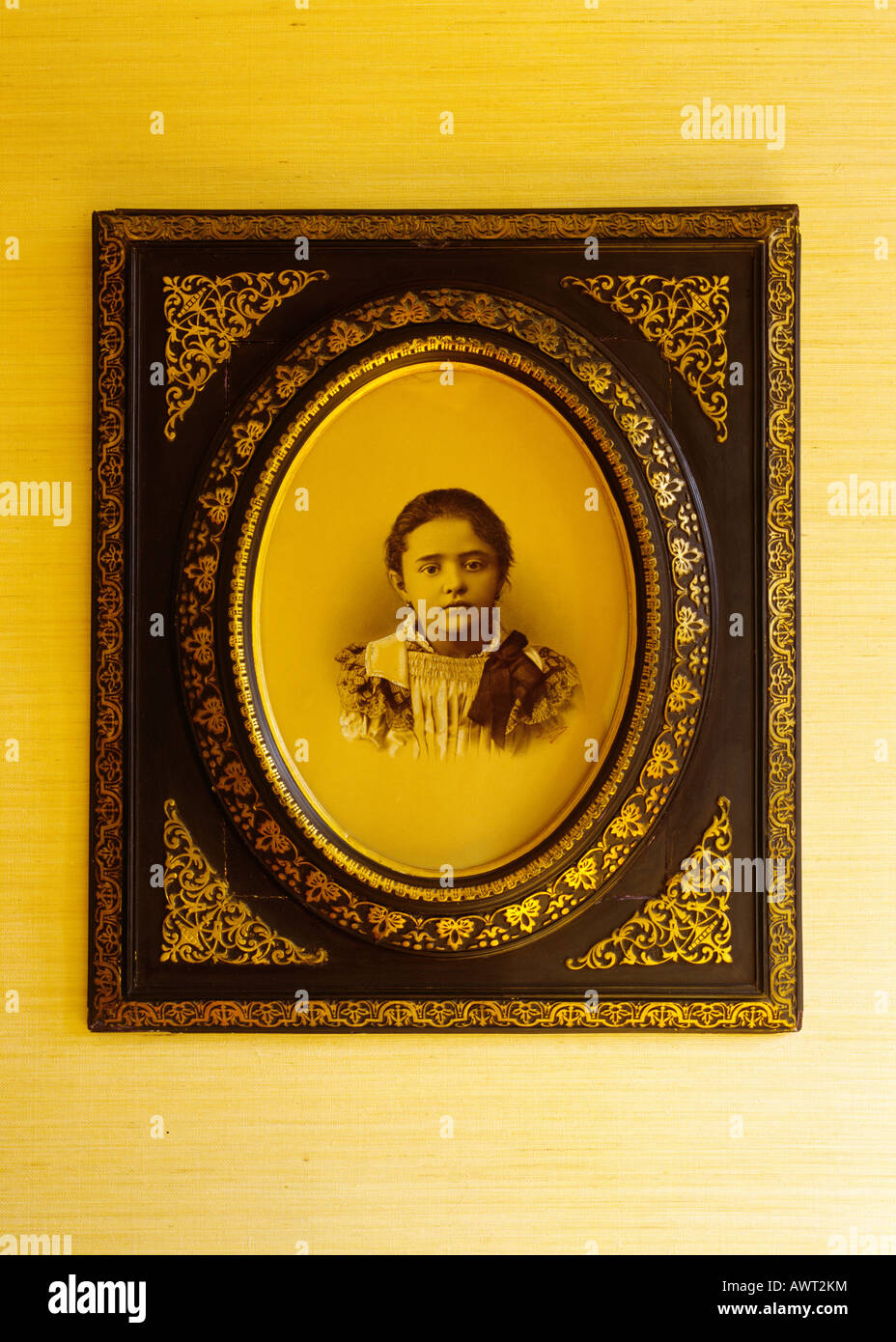 1900's vintage girl portrait in an ancient frame Stock Photo