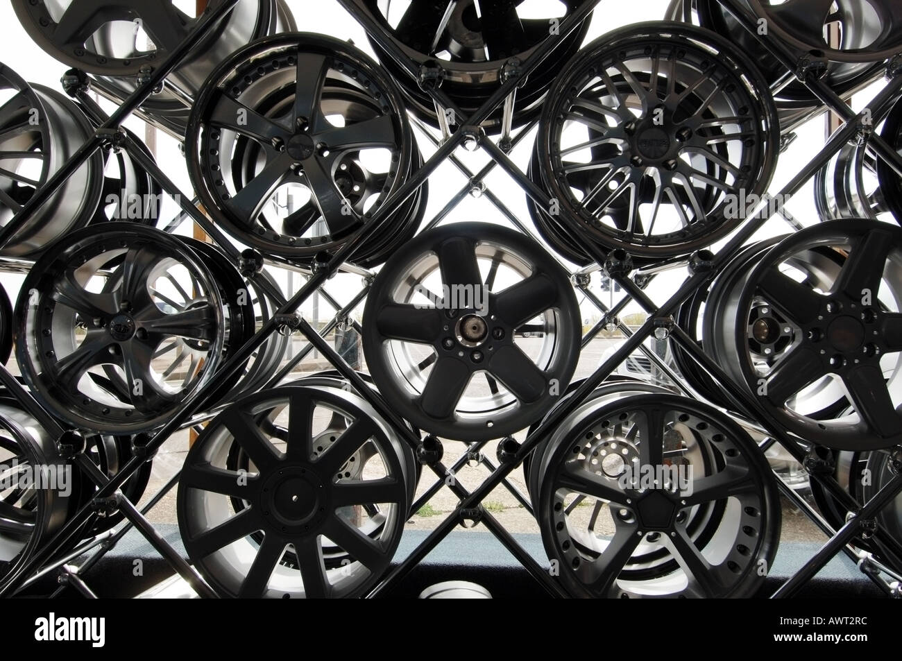 Designer alloy aluminium car wheels - Stock Image