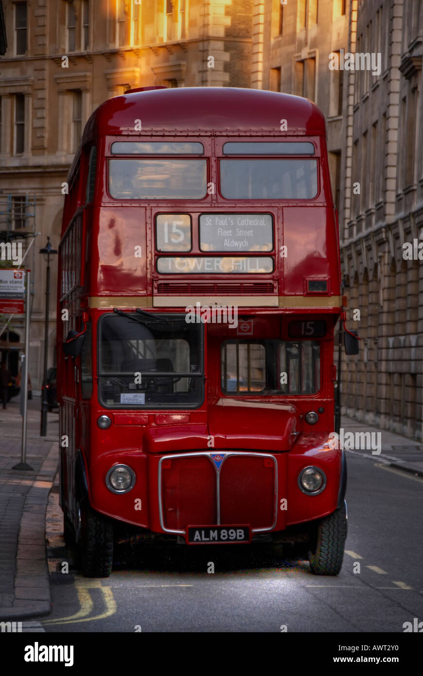 Red double decker Routemaster London bus - Stock Image
