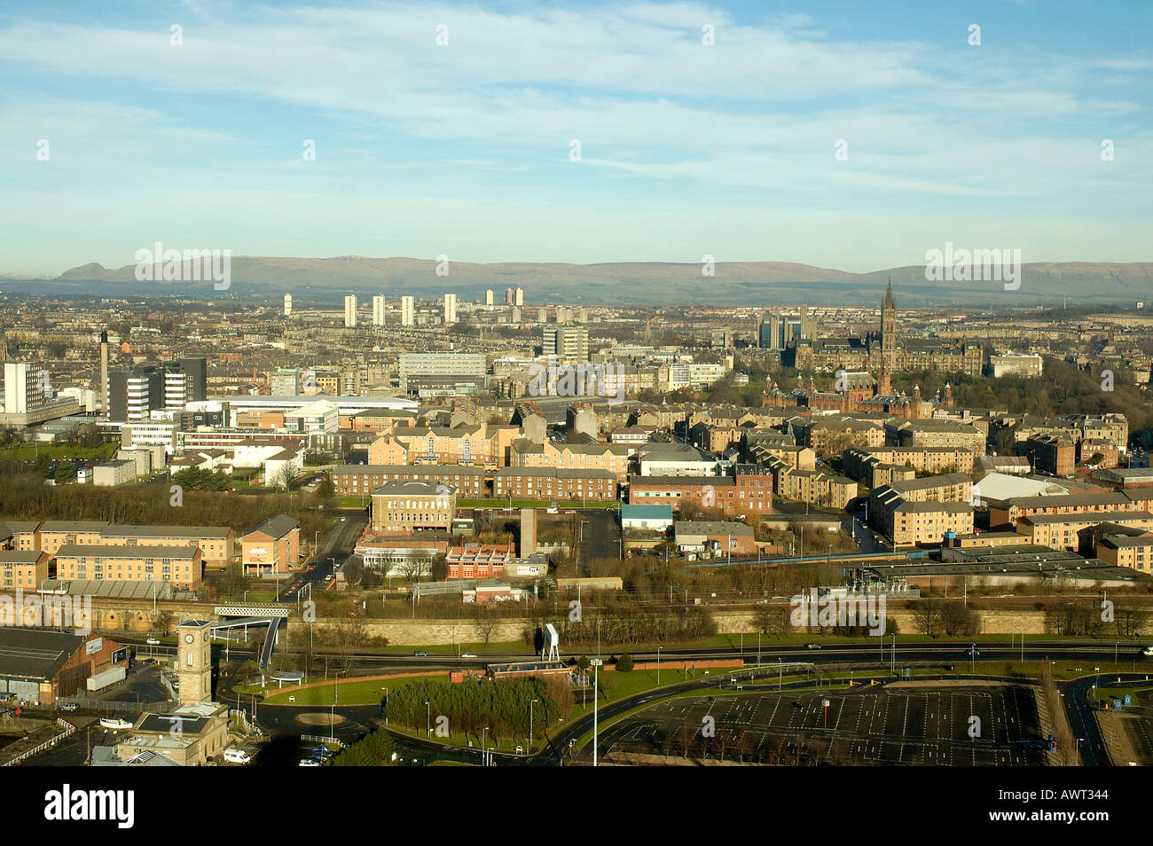ariel view of west glasgow showing glasgow university tower and sick childrens hospital scotland europe - Stock Image