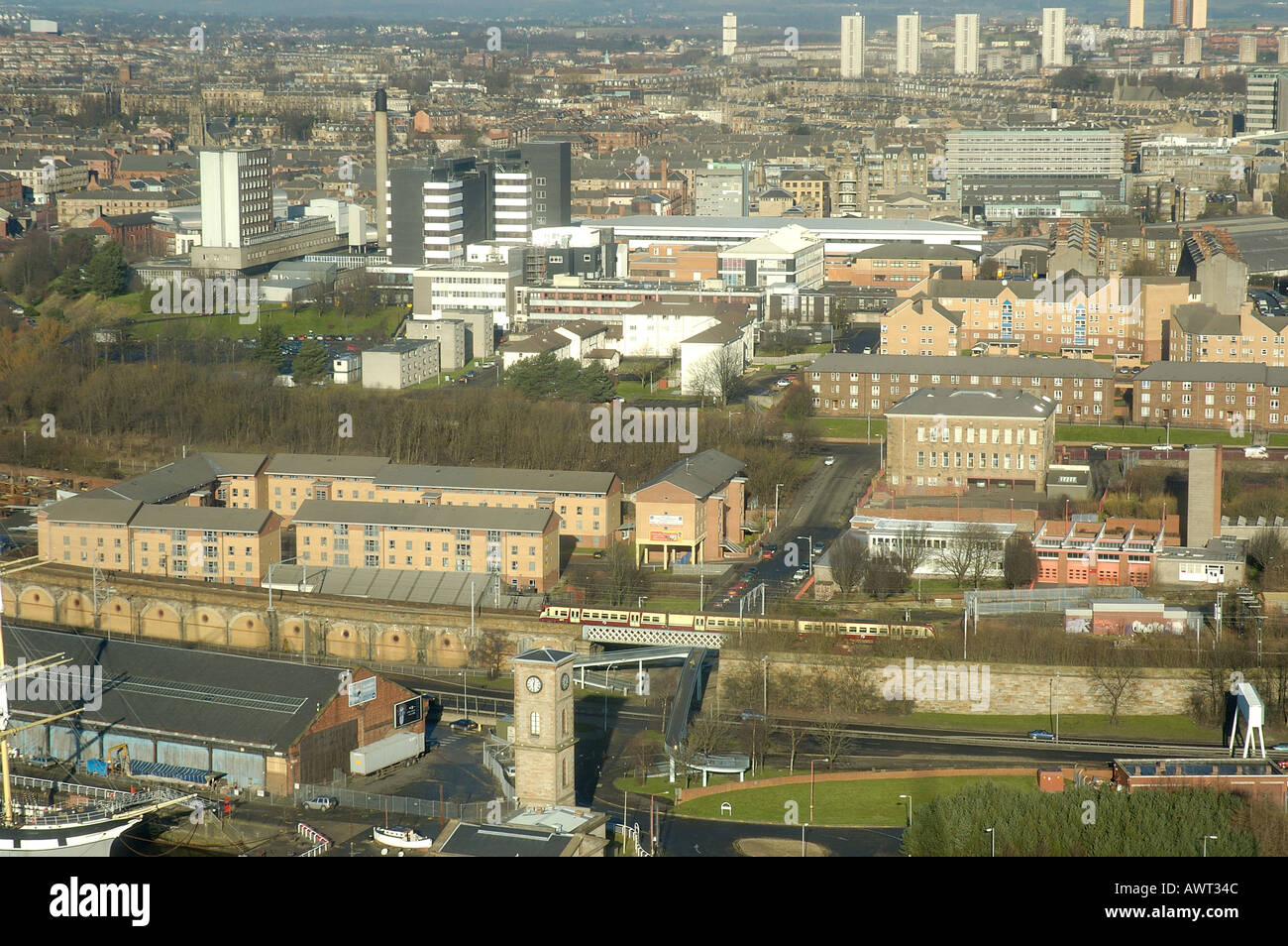 ariel view of west glasgow showing queen mothers hospital for sick children scotland europe - Stock Image