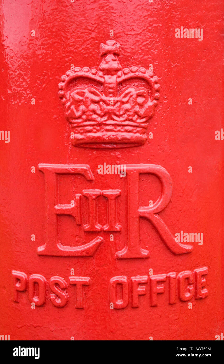 Close up of the front of a red Royal Mail post box Stock Photo