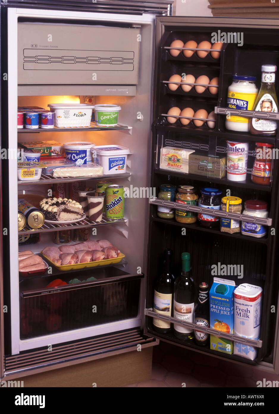 typical food products correctly stored in a refrigerator - Stock Image