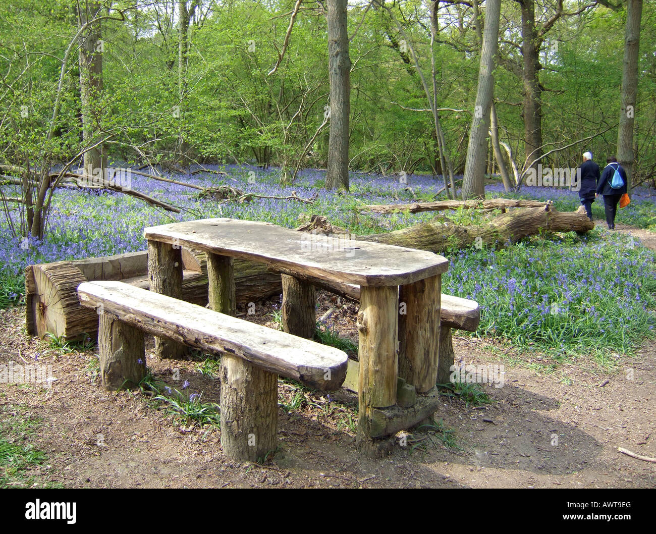 Couple Leaving Large Wooden Picnic Bench In Bluebell Wood Surrey - Large wooden picnic table
