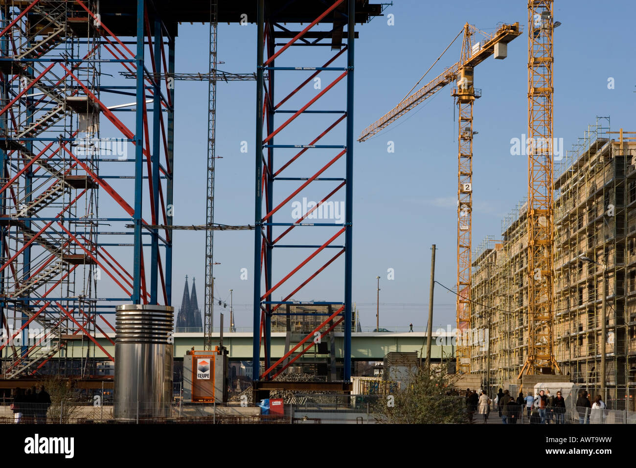 Rheinauhafen Koeln Baustelle Cologne construction site yacht port further storage town Stock Photo
