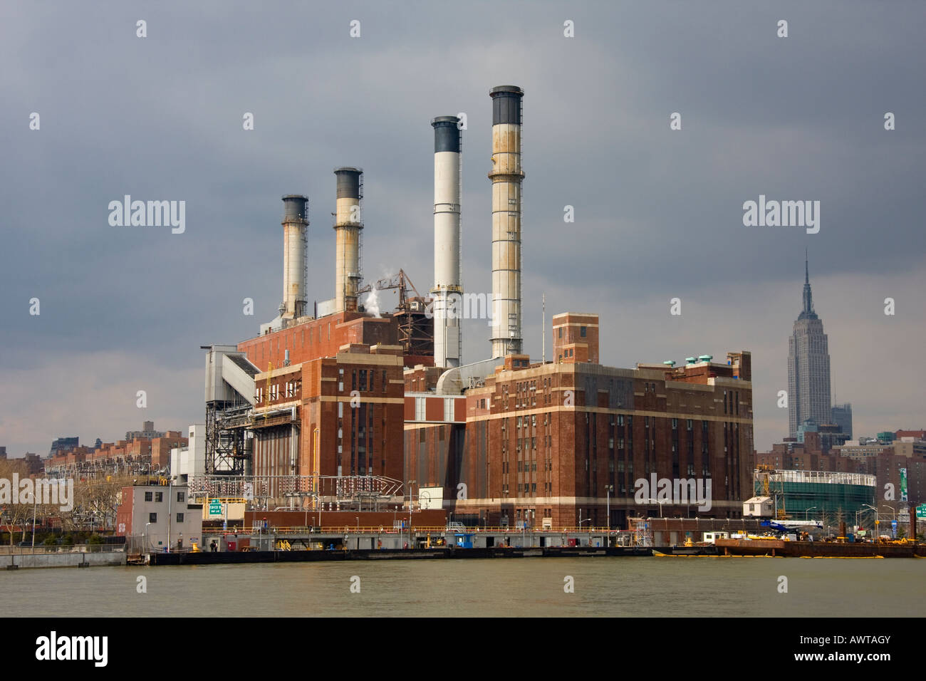 Consolidated Edison Power Plant New York City USA - Stock Image