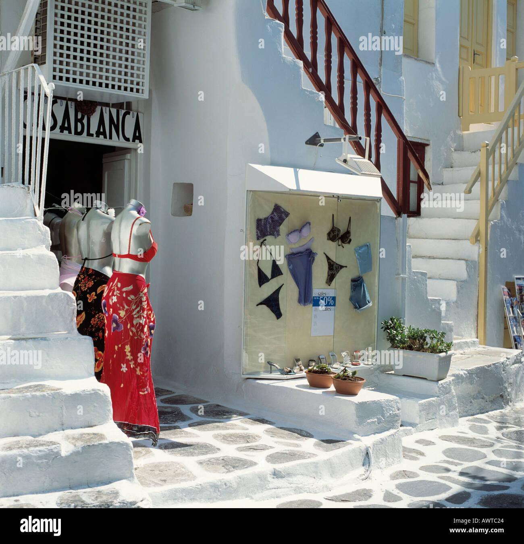 Clothes shop Mykonos Greek Islands Greece Hellas - Stock Image