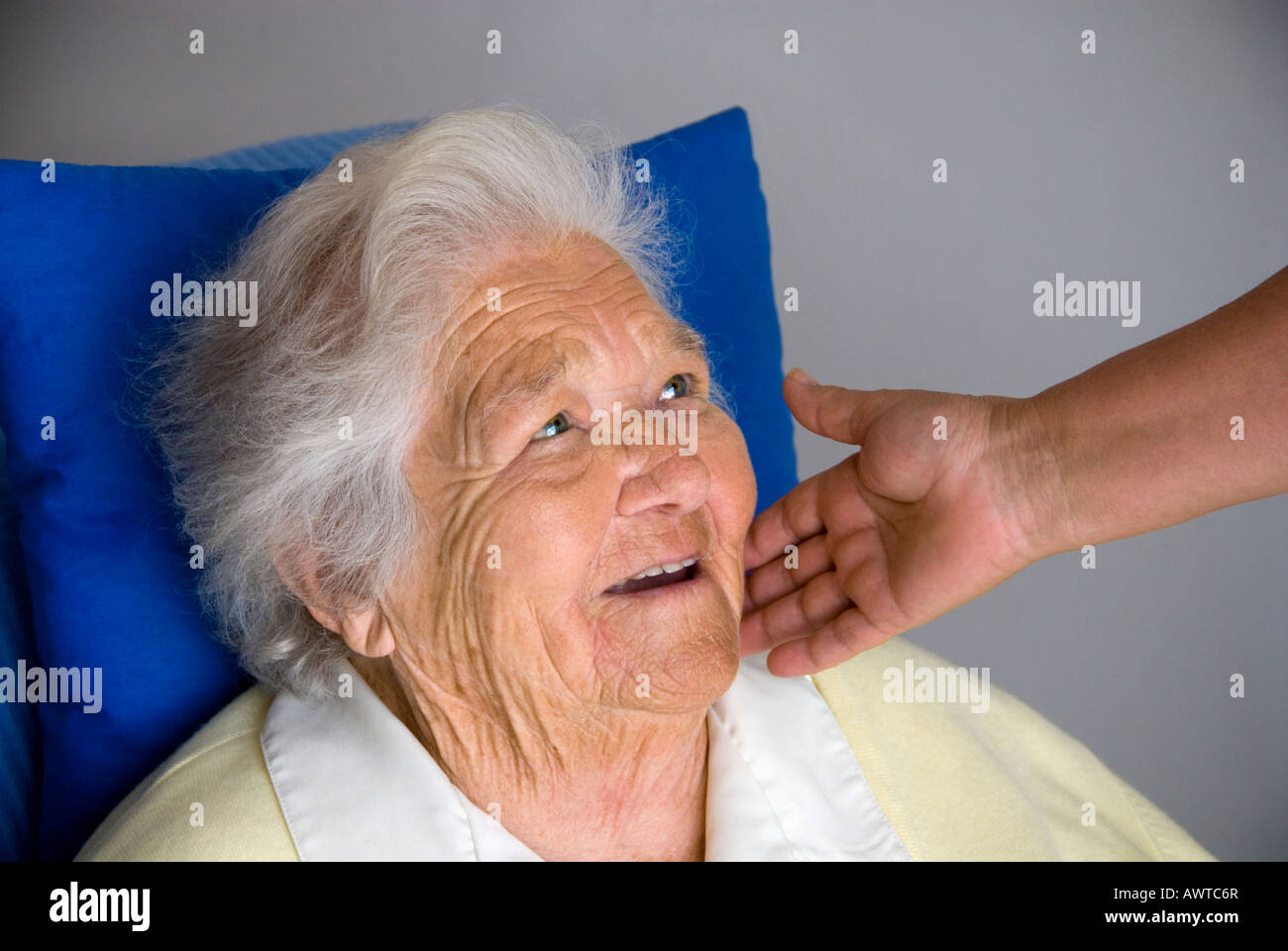 Contented smiling elderly woman with comforting hand of carer - Stock Image