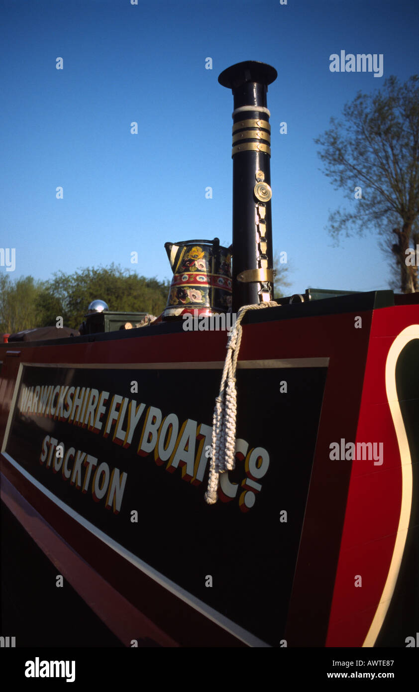 PICTURE CREDIT DOUG BLANE Traditional narrowboat cabin Grand Union Junction Canal Stock Photo