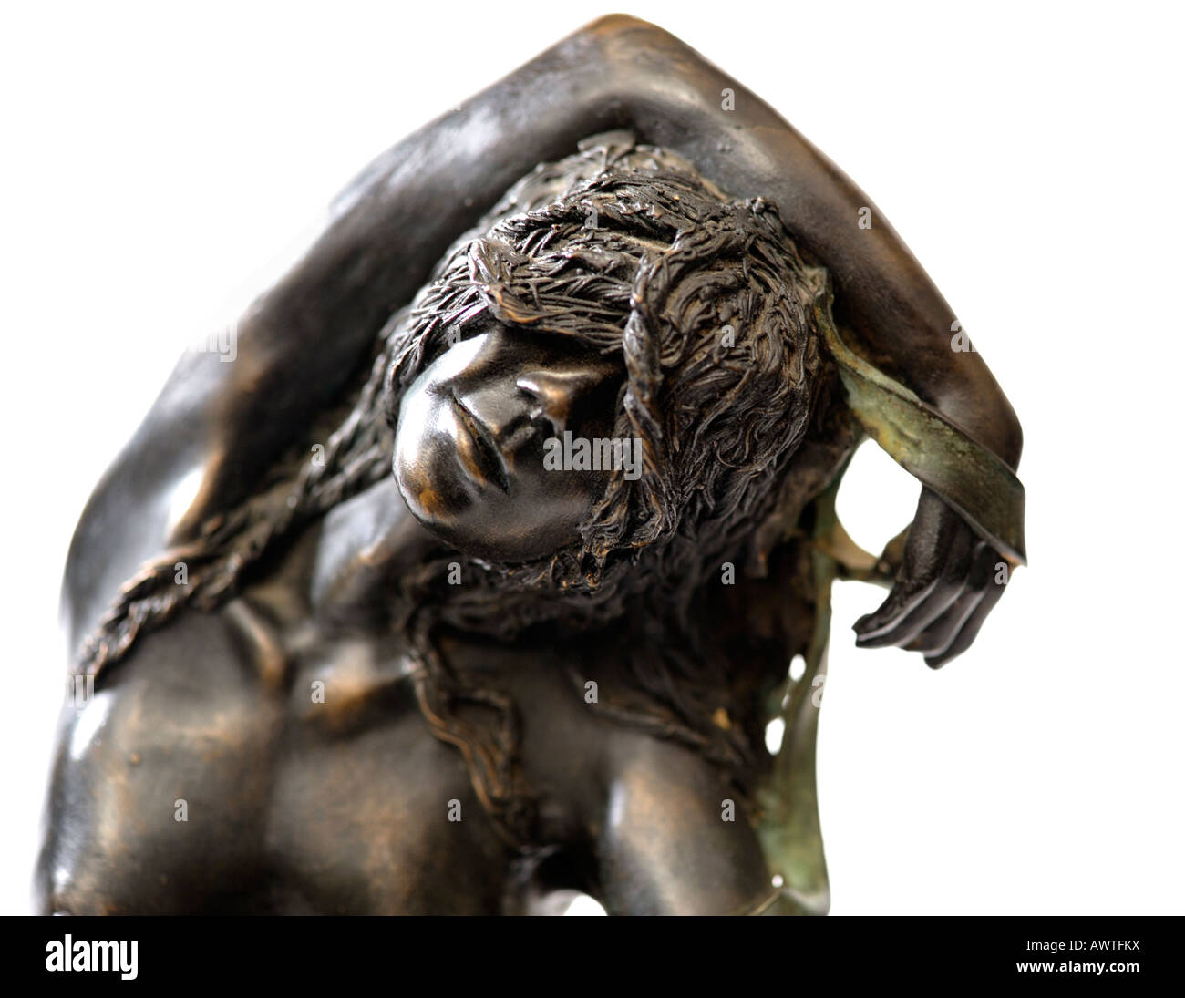 Bronze Resin Statuette Sculpture Ribbons by Sue Riley sculptor Limited Edition of 25 1990s Detail EDITORIAL USE - Stock Image